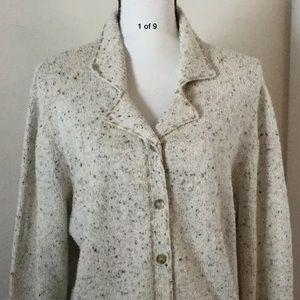 LIZ CLAIBORNE Speckled Cardigan Sweater Tan SZ XL